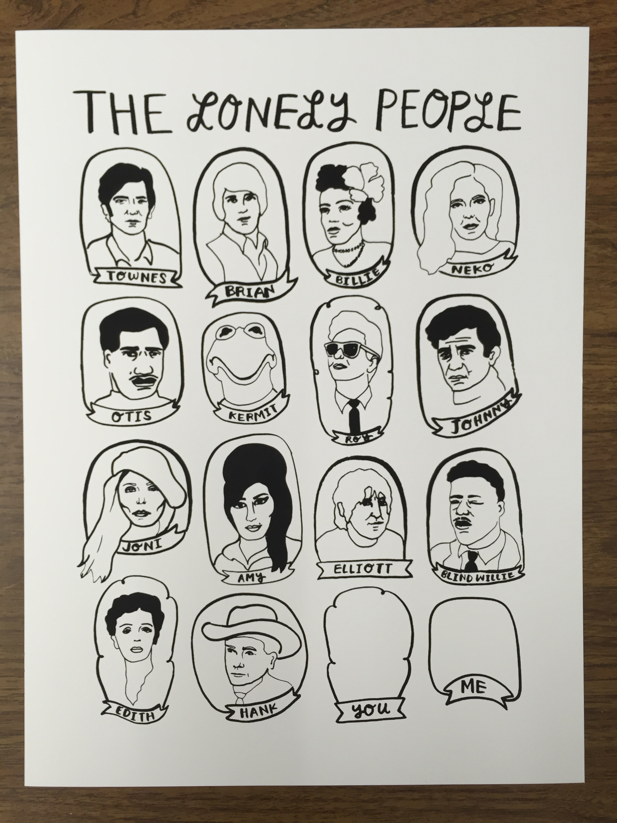 The Lonely People Fill-In-The-Blank Screen Print