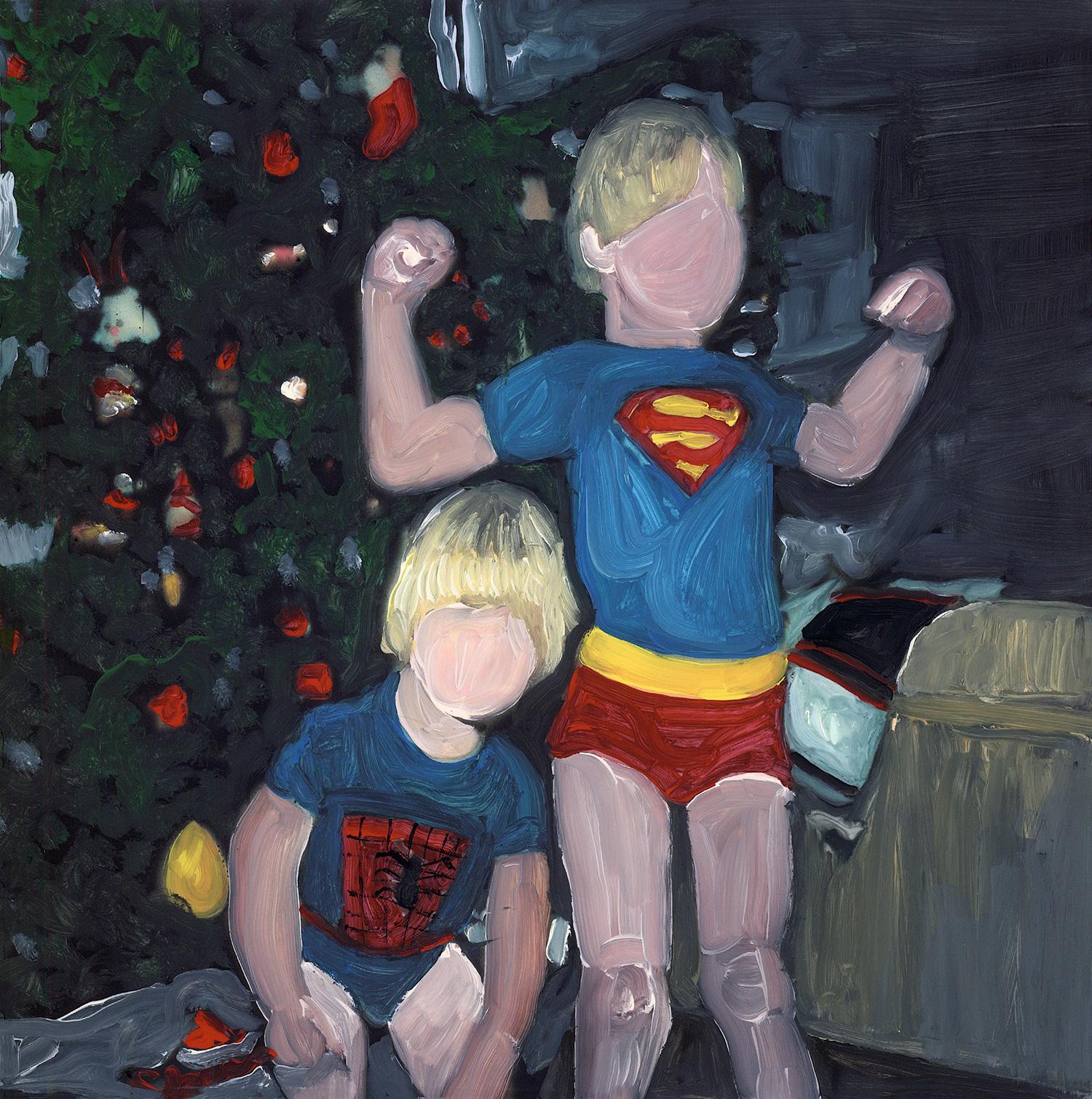 superhereos on christmas morning