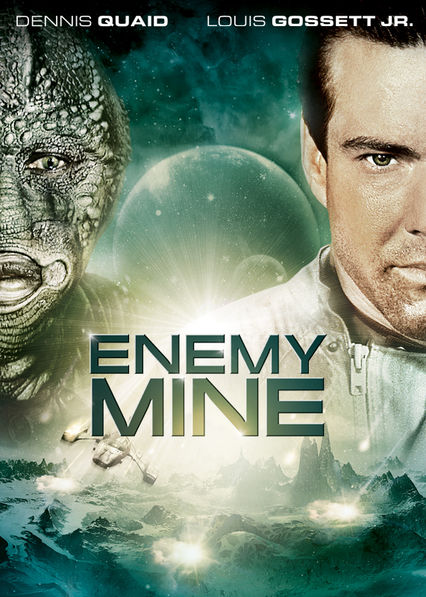Enemy Mine   is a 1985 West German-American  science fiction film  directed by  Wolfgang Petersen  and written by Edward Khmara, based on  Barry B. Longyear 's  novella of the same name . The film stars  Dennis Quaid and  Louis Gossett, Jr.  as a human and alien soldier, respectively, who become stranded together on an inhospitable planet and must overcome their mutual distrust in order to cooperate and survive.