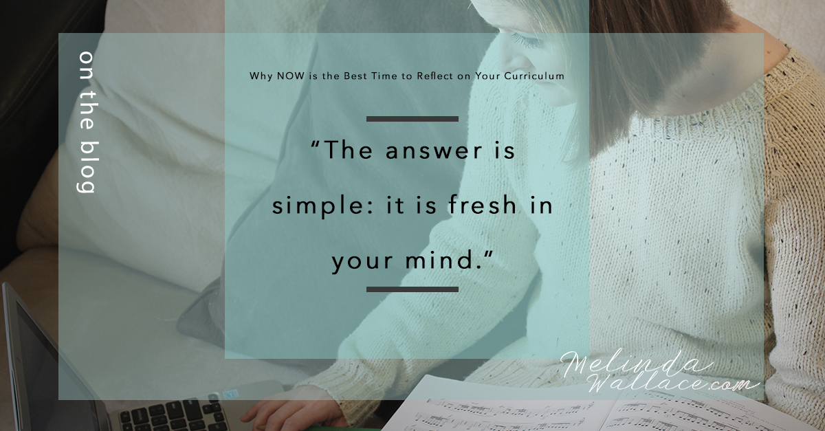 Why NOW is the Best Time to Reflect on Your Curriculum - MelindaWallaceDotCom