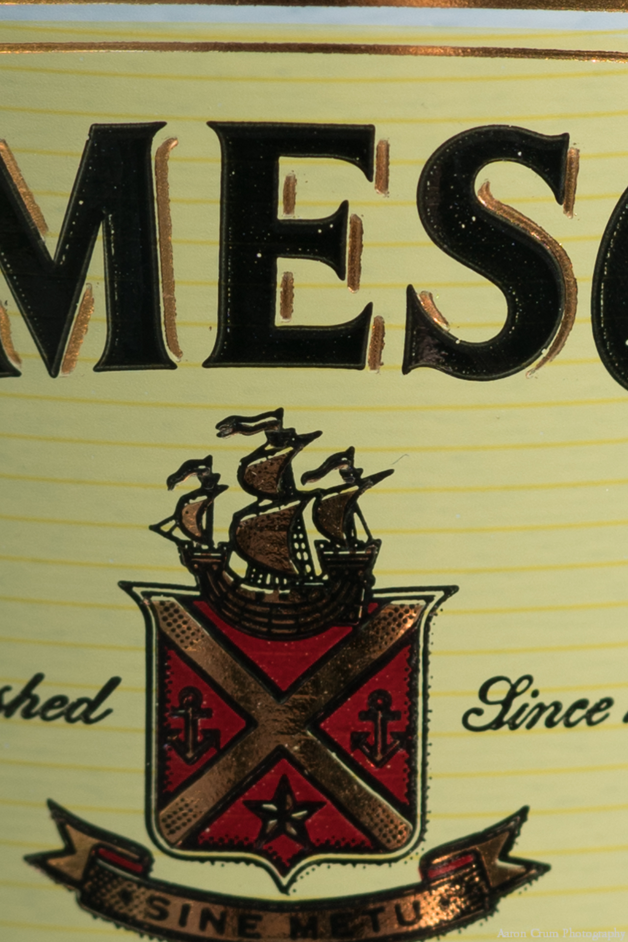 Sony 90mm f/2.8 macro photo of Jameson bottle label