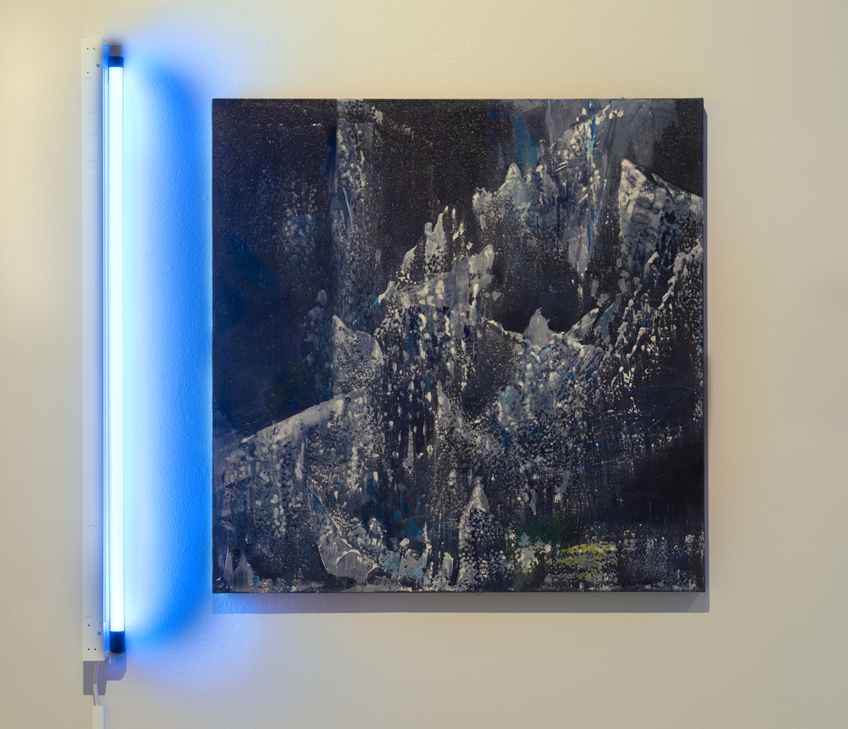 Time Spray . Acrylic, cyanotype on cotton canvas. LED light. 38 inches x 38 inches. 2017.