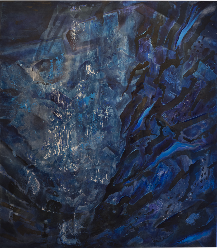 Pressed: Slipping Toward the Geologic.  Acrylic, cyanotype, carbon, pigment, calcium carbonate on cotton canvas. Pine. LED tubes and fixtures. Extension cords. Chain and carabiners. 96 inches x 84 inches. 2017.