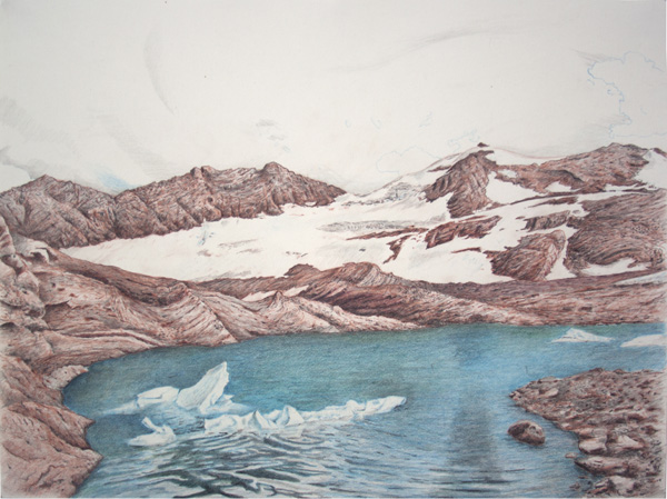 "Sperry: Glacier National Park . Graphite and color pencil. 18"" x 24"". 2014."