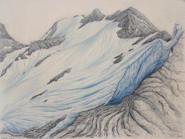 "Stanton: Great Bear Wilderness.  Graphite and color pencil. 18""x24"". 2014."