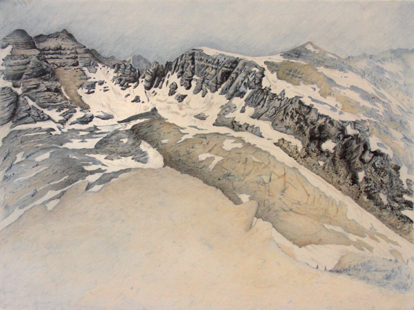 "Fissure: Mission Mountain Wilderness.  Graphite and color pencil. 18""x24"". 2015."