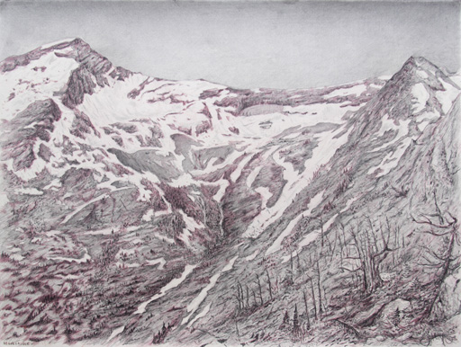 "Mountaineer: Mission Mountain Wilderness.  Graphite and color pencil. 18""x24"". 2014"