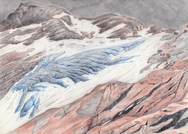 "Jackson: Glacier National Park.  Graphite and color pencil. 9""x12"". 2015."