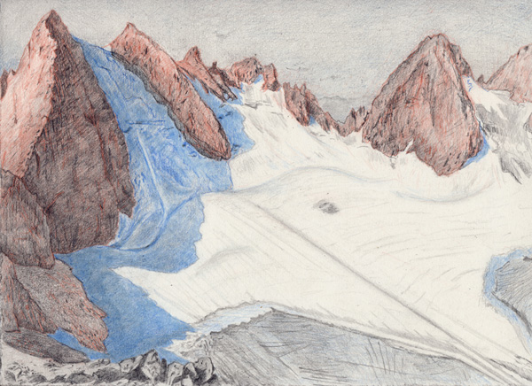 "Wolf: Absaroka-Beartooth WIlderness . Graphite and color pencil. 9""x12"". 2015."