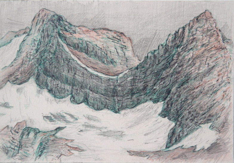 "Sexton: Glacier National Park.  Graphite and color pencil. 4""x6"". 2015."