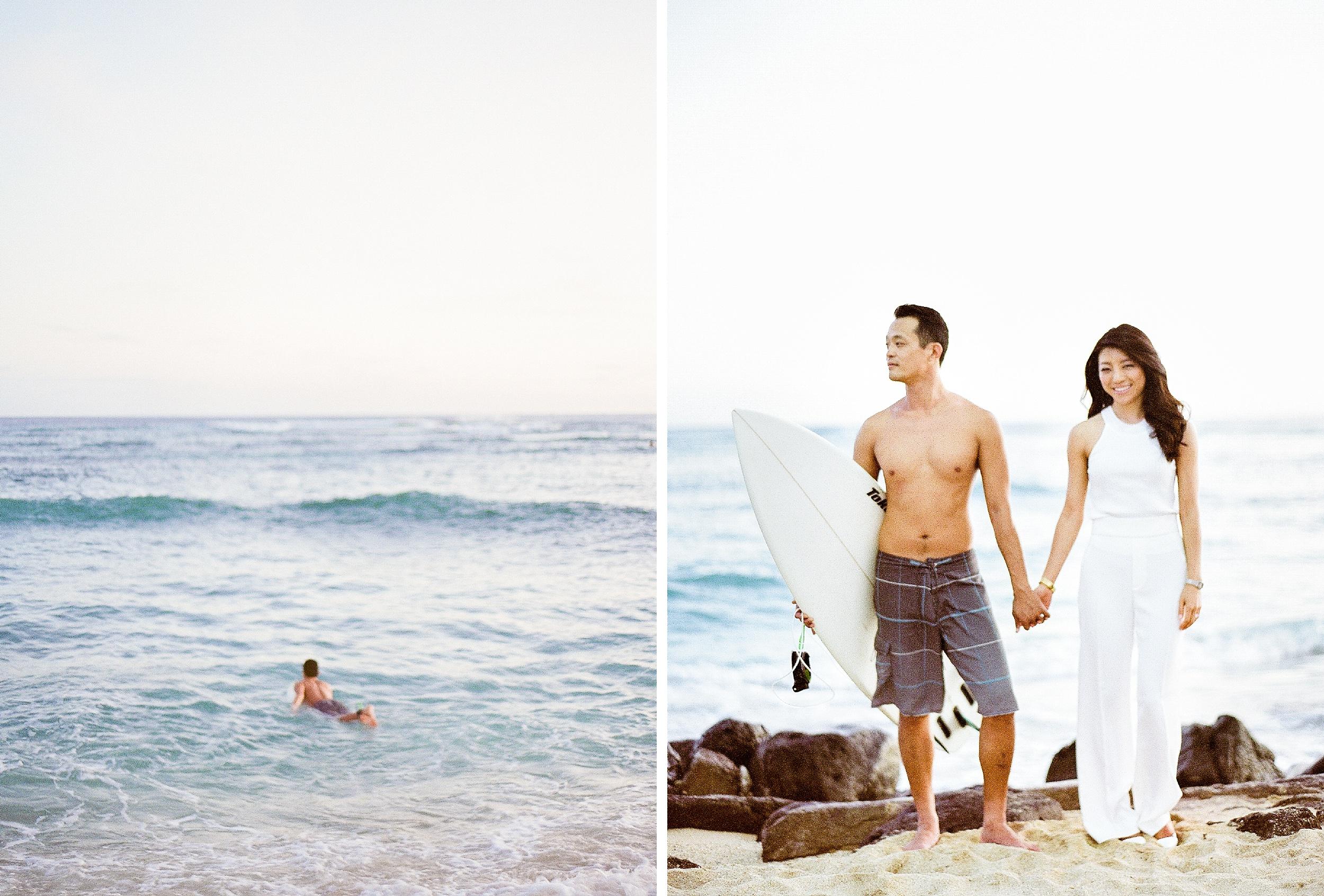 Waikiki Surfer Engagement Photo