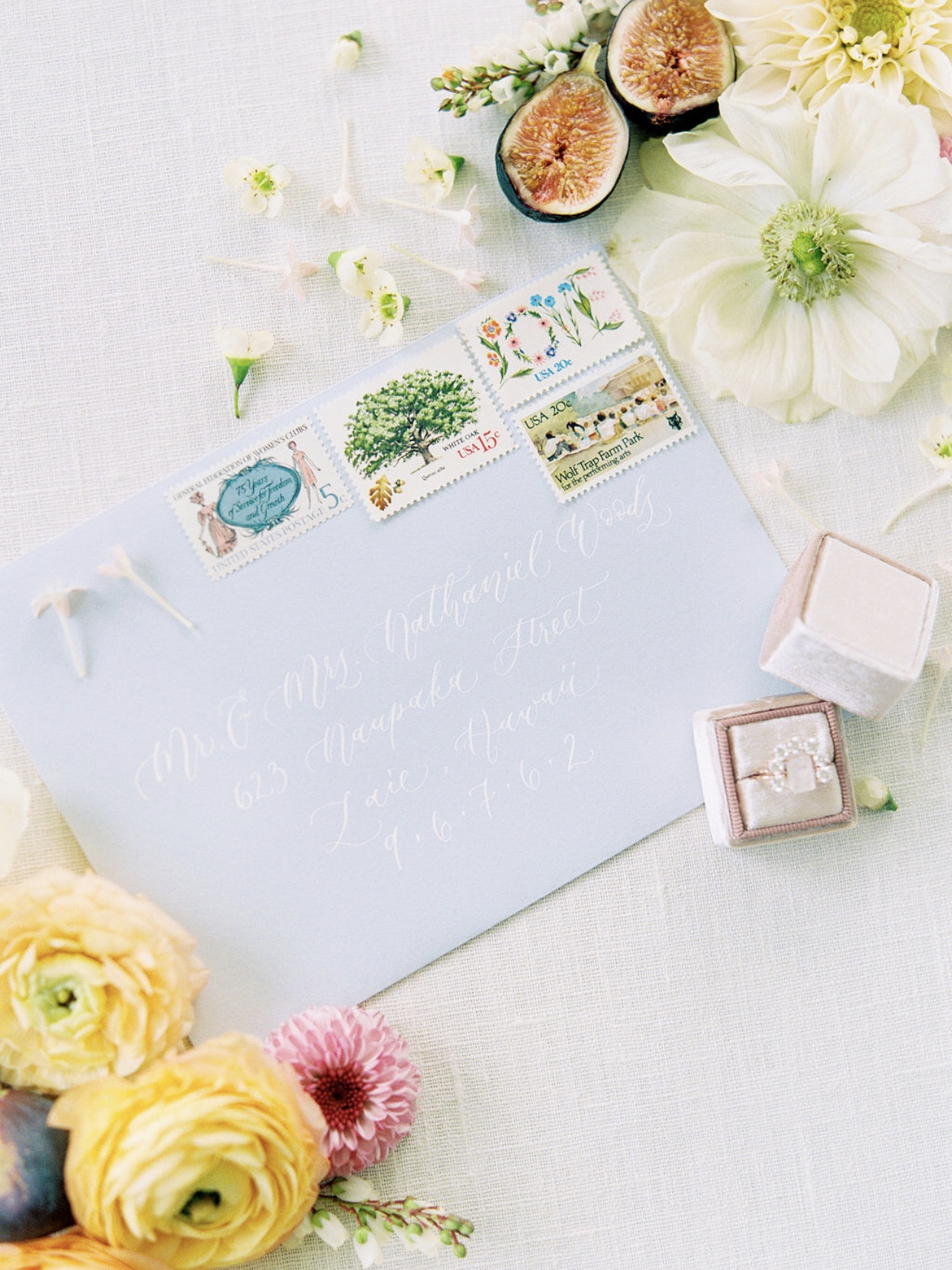 powder blue garden inspired calligraphy stationary suite by anna claire calligraphy.jpg