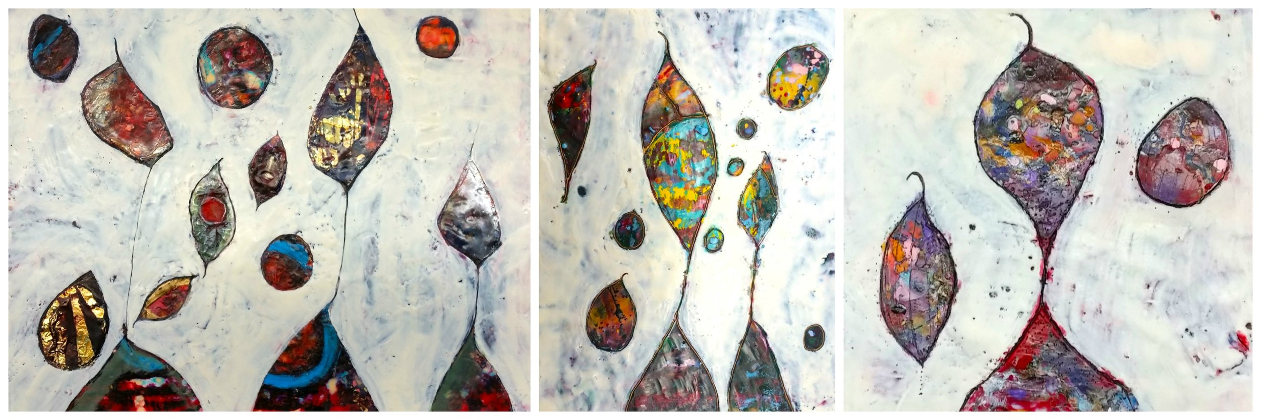 Three paintings from the  Rising Up!  Series (I, II, & III) by Bethany Handfield