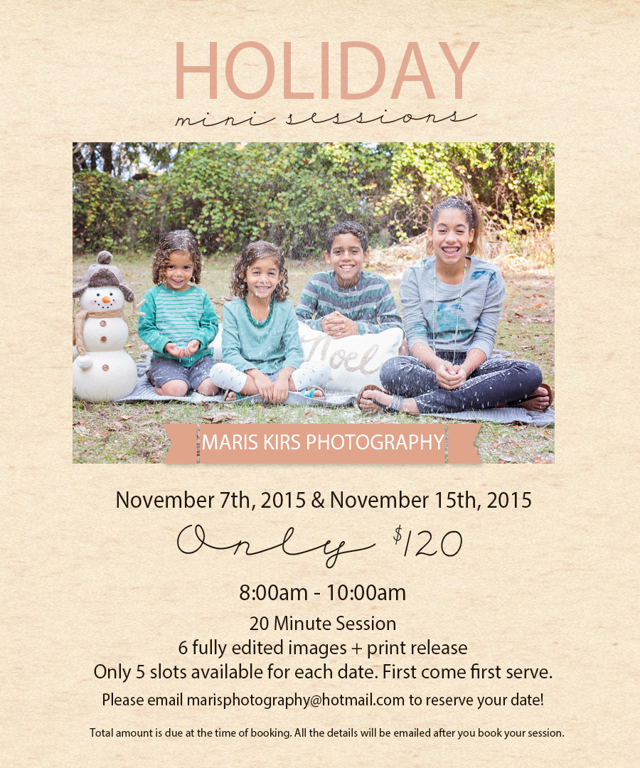 Holiday mini sessions | Maris Kirs Photography | Jacksonville, FL, Ponte Vedra and St.Augustine professional photographer