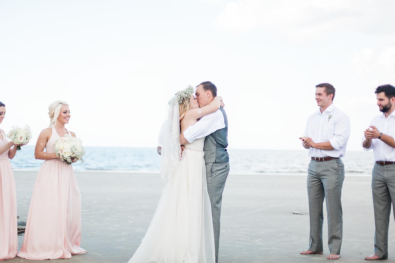 First kiss | Beach wedding in Jekyll Island, GA