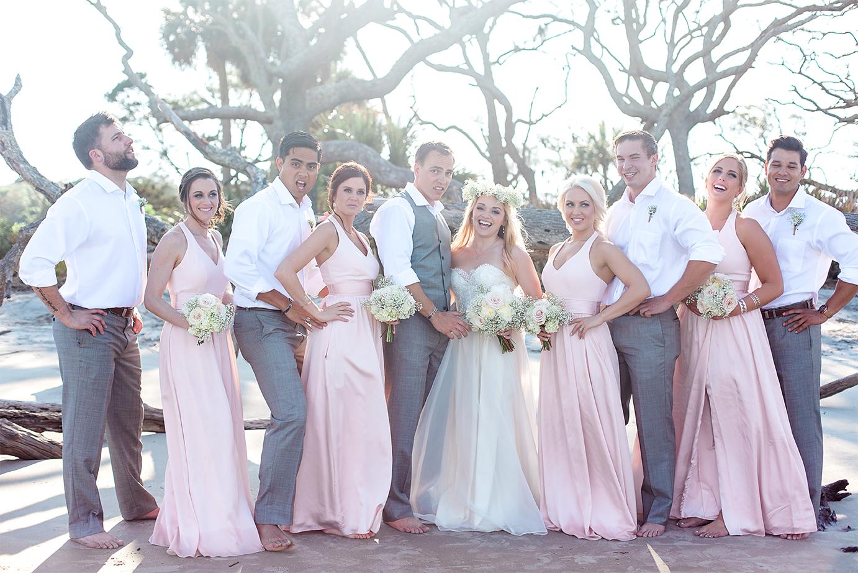 Bridal party during a Wedding in Driftwood Beach, Jekyll Island, GA