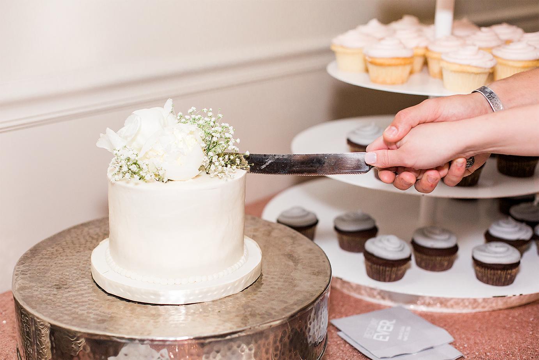 Cake cutting in a wedding