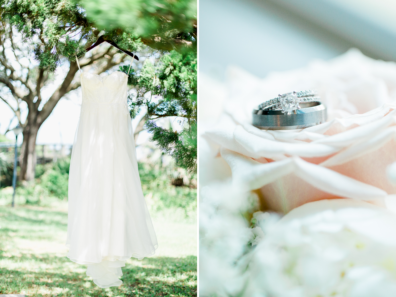 Stunning wedding dress and rings on a bouqet