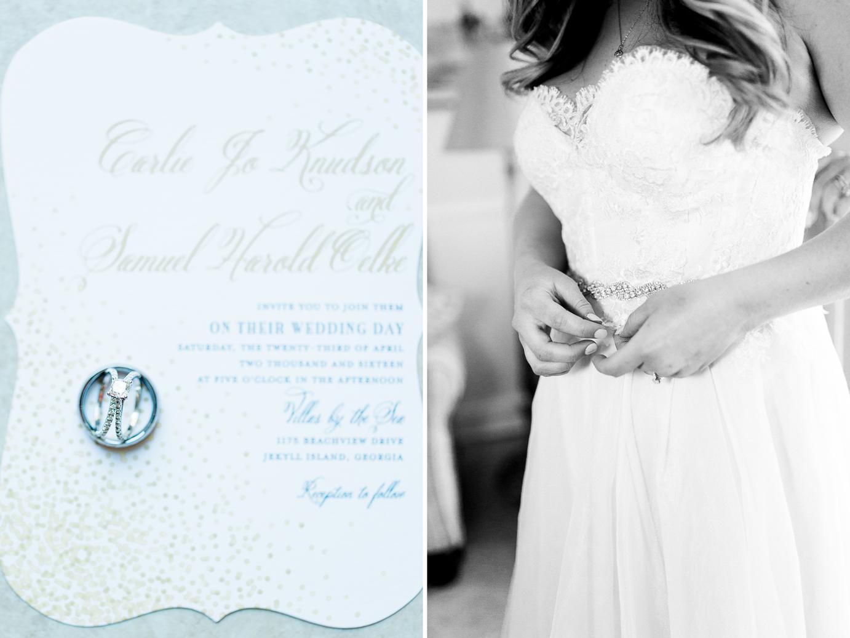 Wedding invitations and rings and dress | Wedding in Driftwood Beach, Jekyll Island, GA