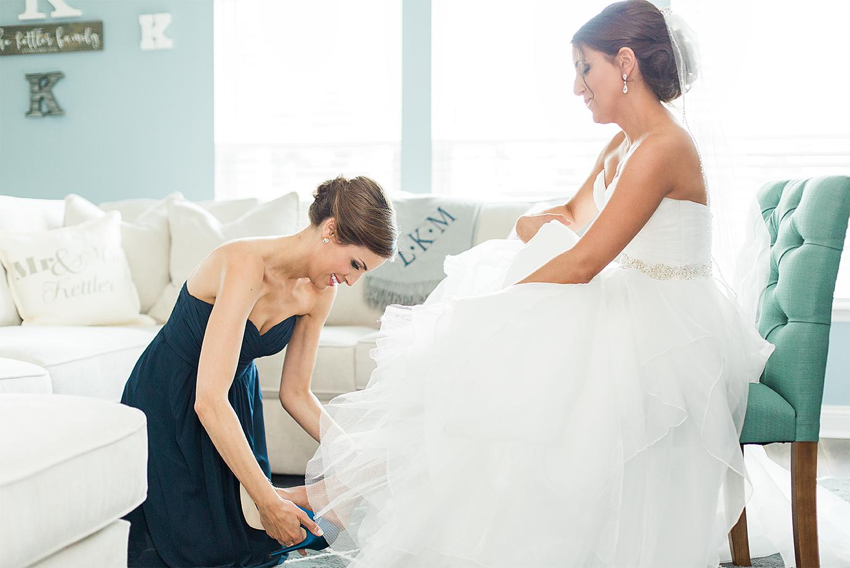Bride getting her heels on