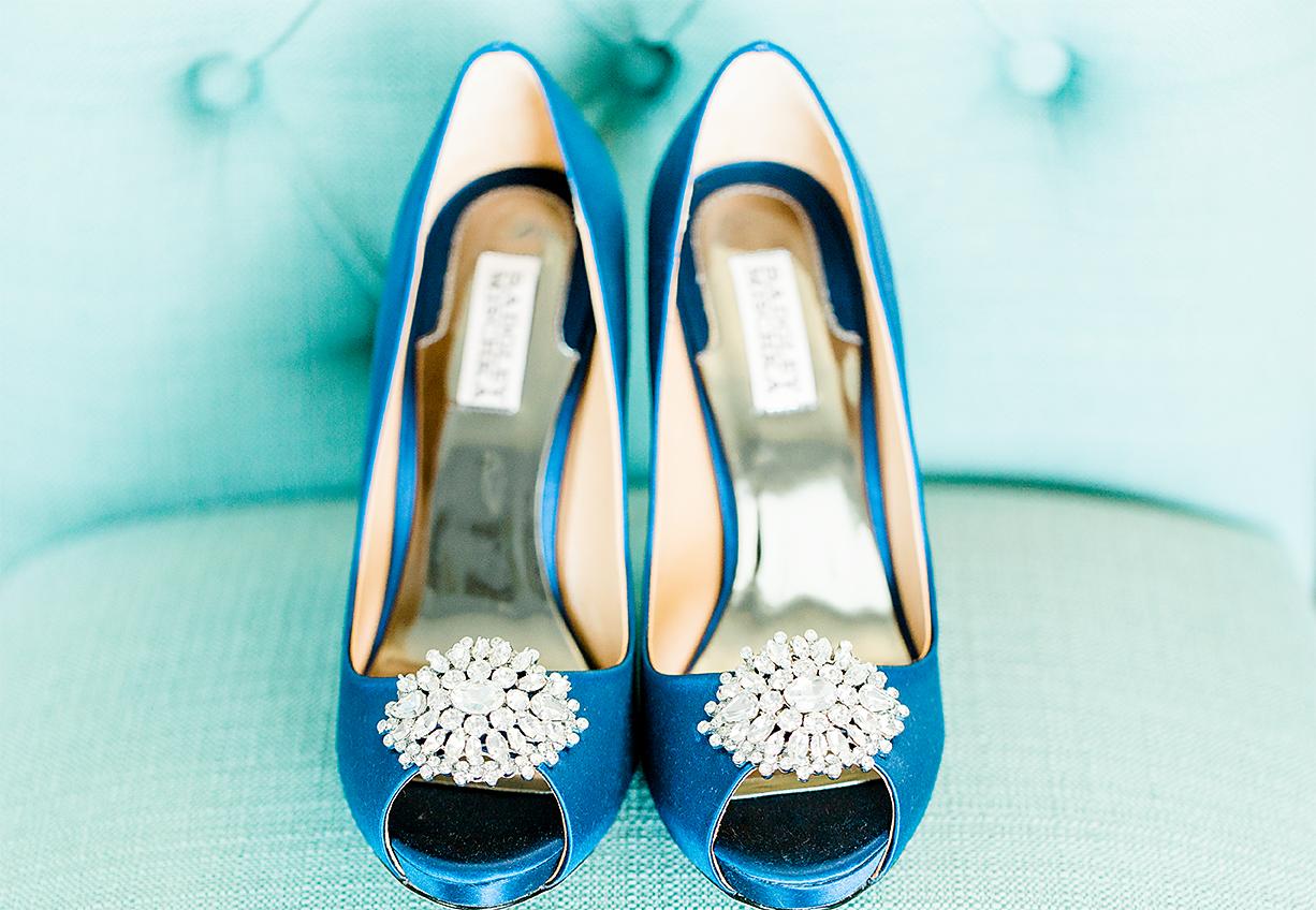 bride's heels with diamonds by badgley mischka