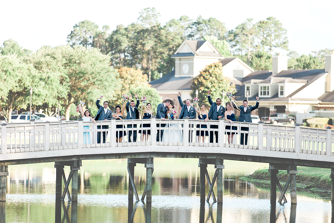 Bridal party on the bridge in St.Johns golf&country club