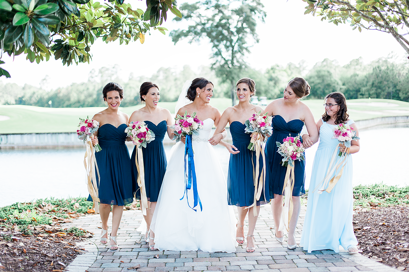 Bride and bridal party in the golf club