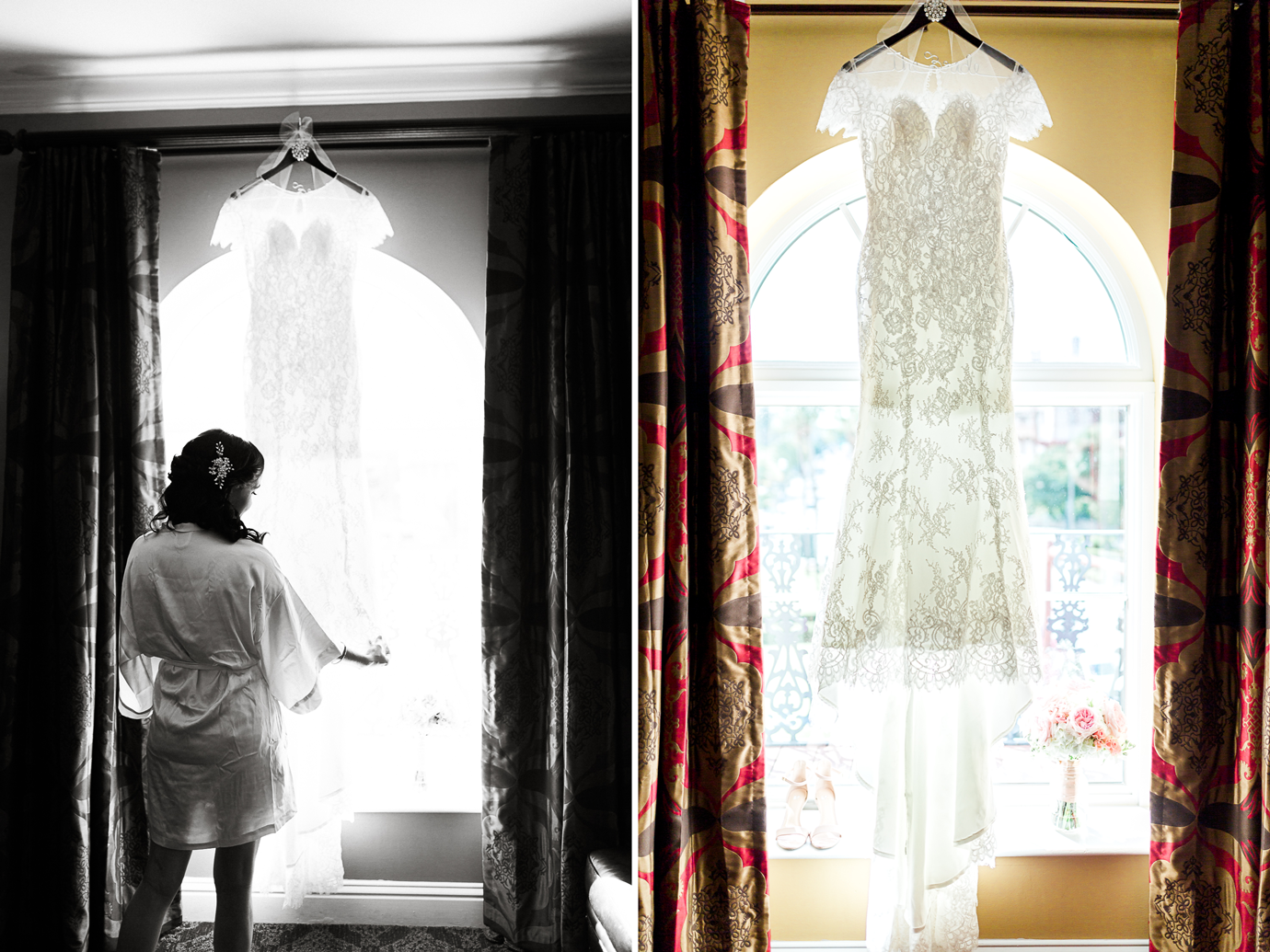 bride and her dress in casa monica