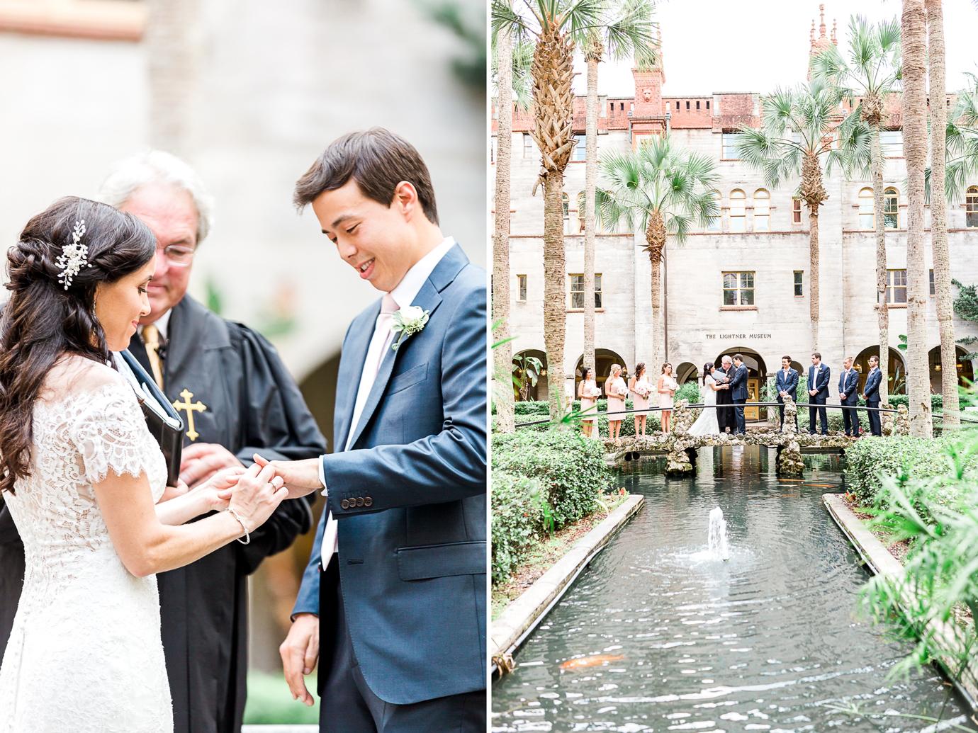 Wedding ceremony in the Lightner Museum courtyard