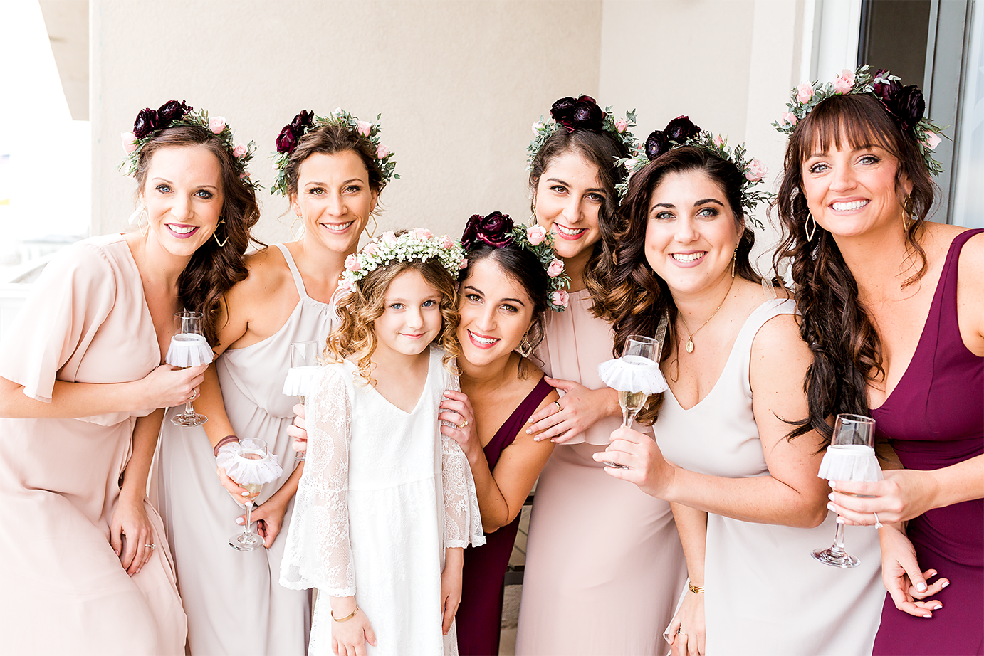 bridal party getting ready for the wedding