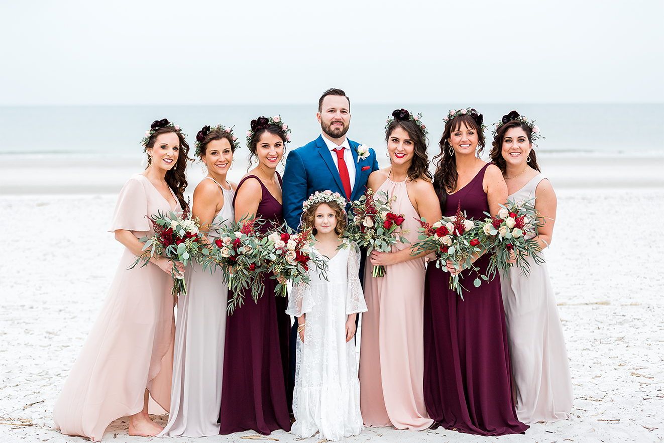 groom with bridesmaids