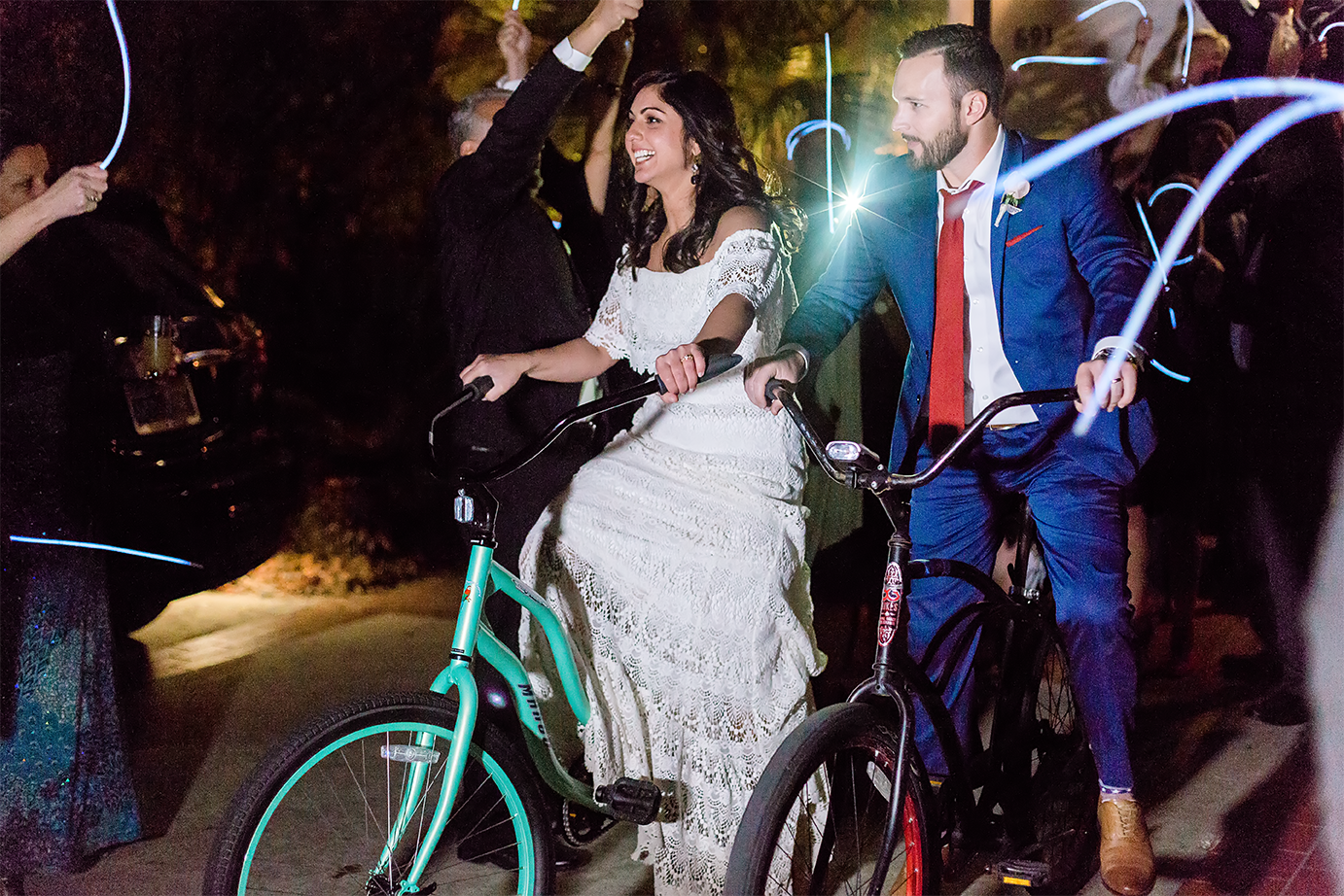 bride and groom's exit with the bike after their wedding in jacksonville beach, fl