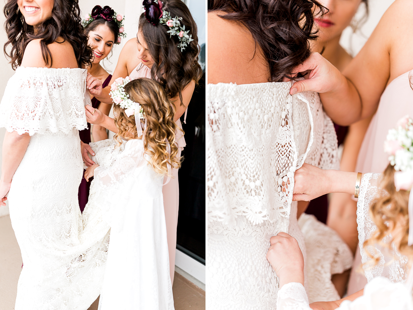 bride and bridal party getting ready in four points by sheraton in jacksonville beach