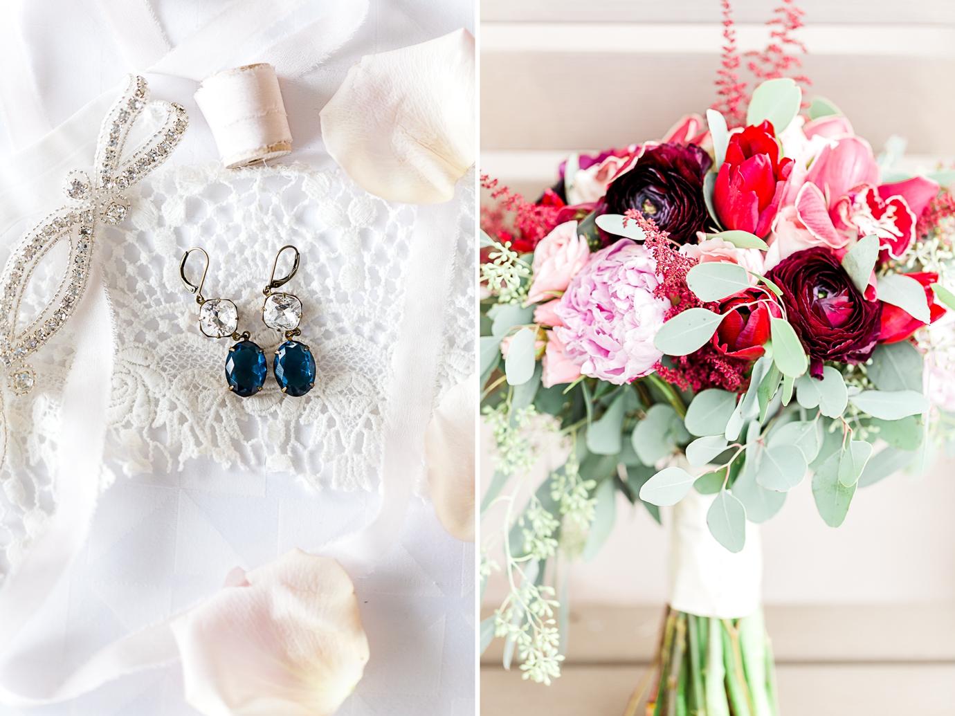 wedding jewelry and bouquet