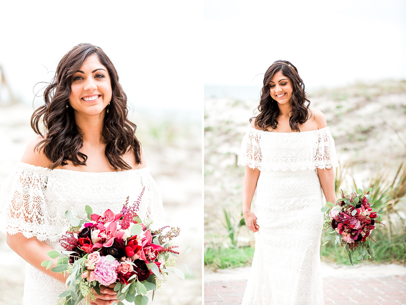 beautiful bride in jacksonville beach. Dress by Daughter's of Simone