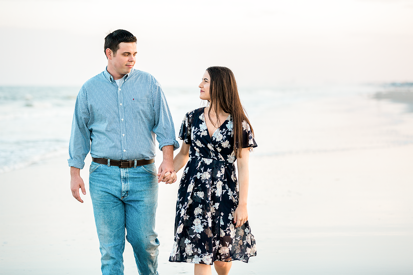 engagement photos at the beach in Hanna Park