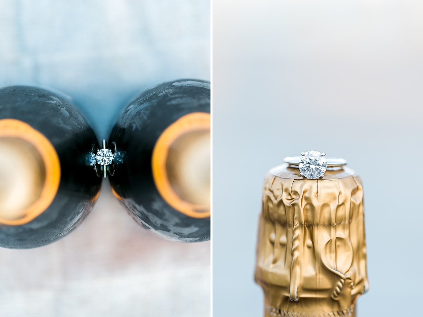 engagement ring on a champagne bottle