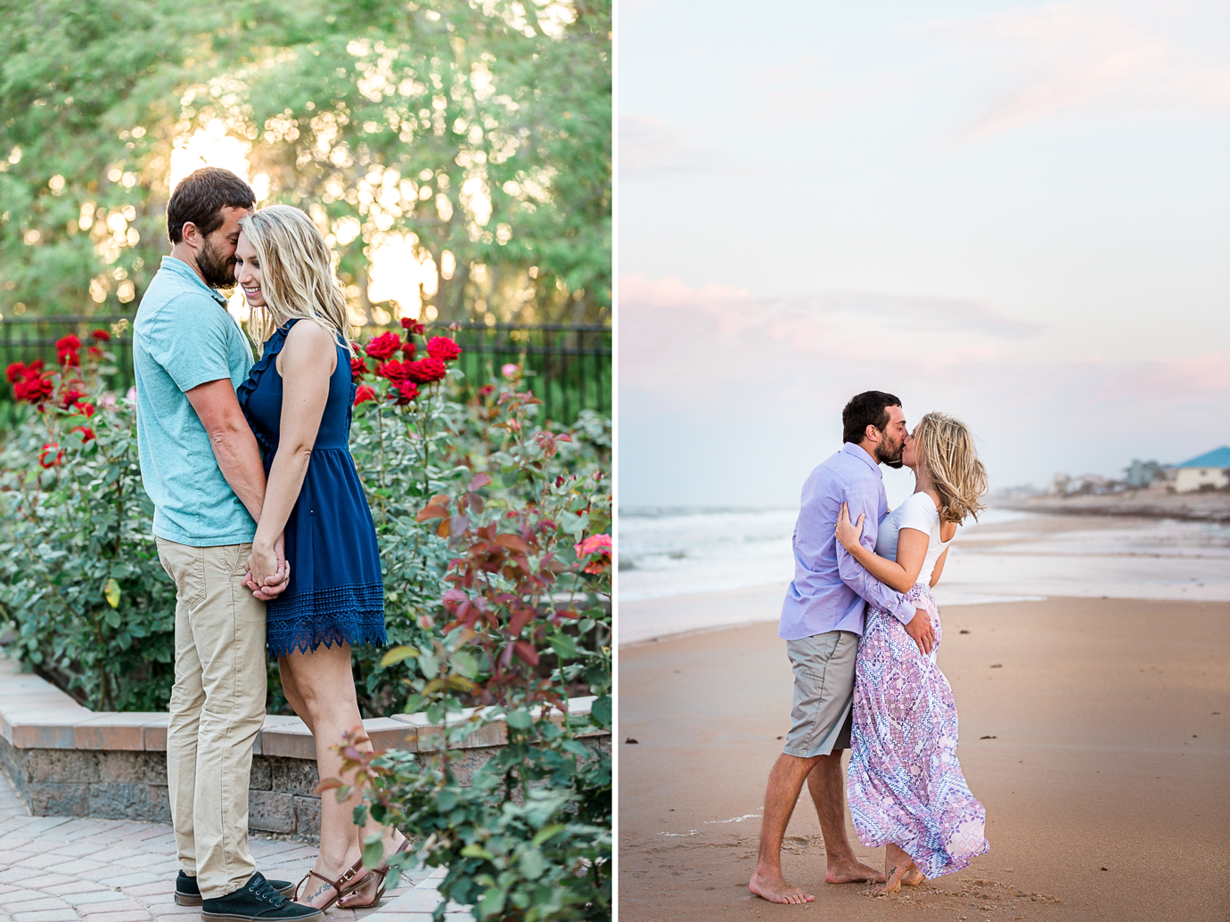 beach and rose garden engagement session