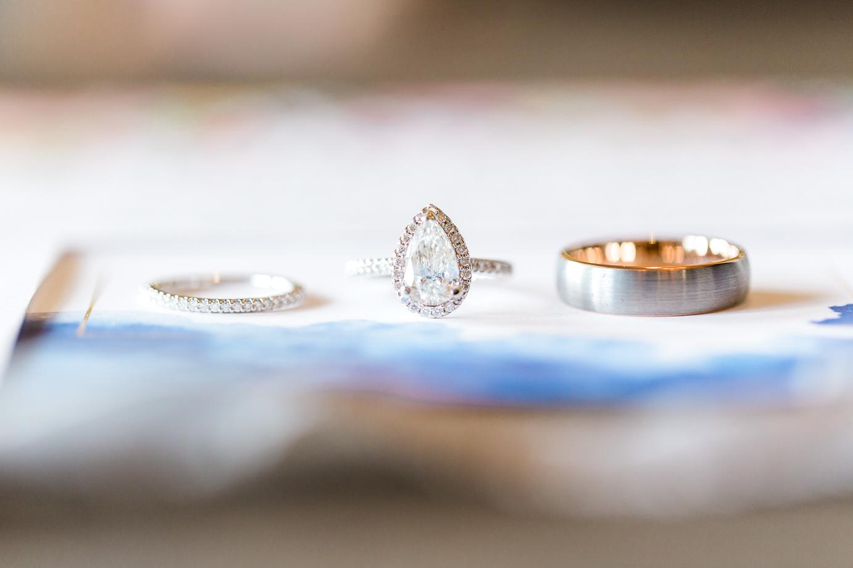 wedding rings on the invitation