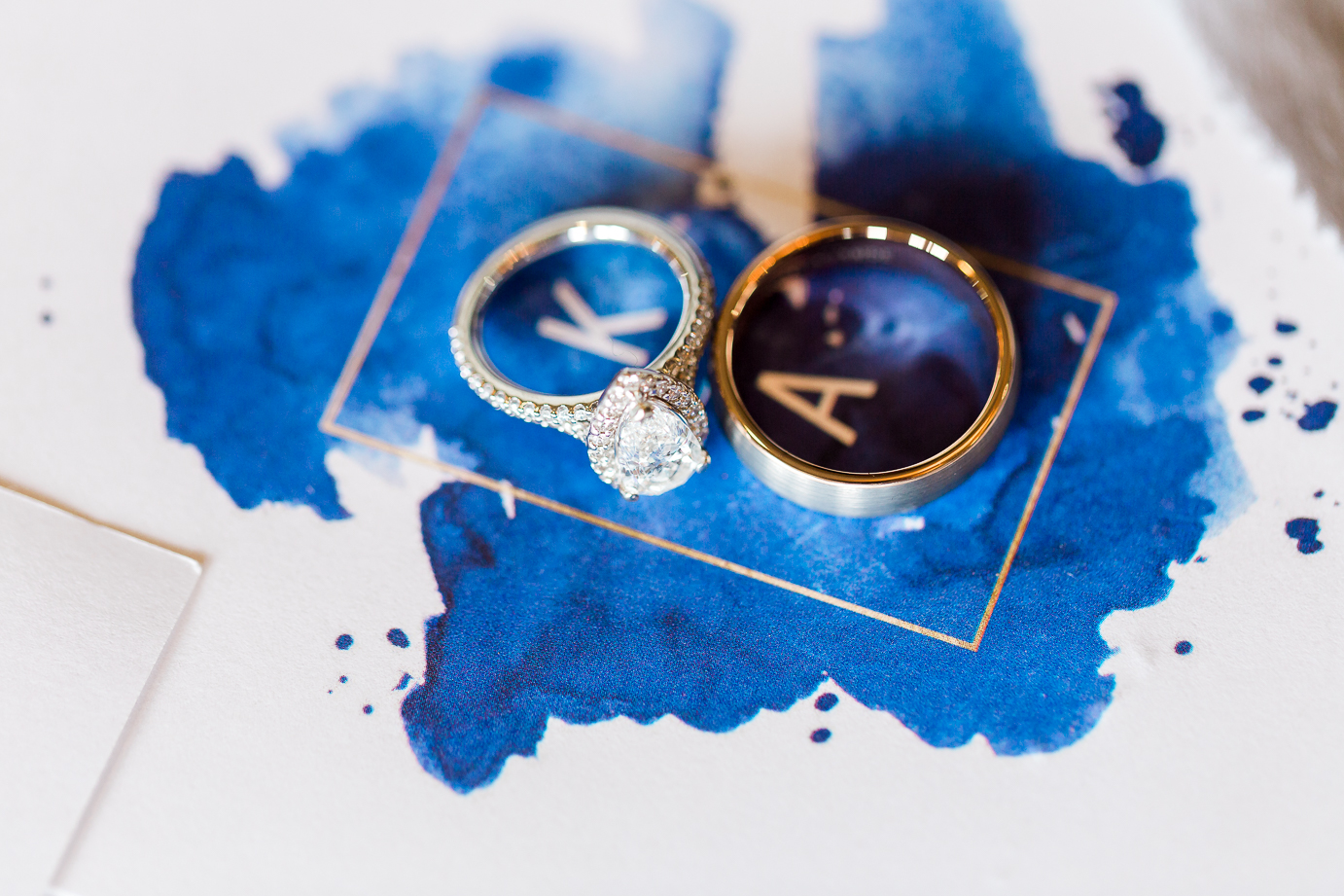 wedding details - rings and invitation