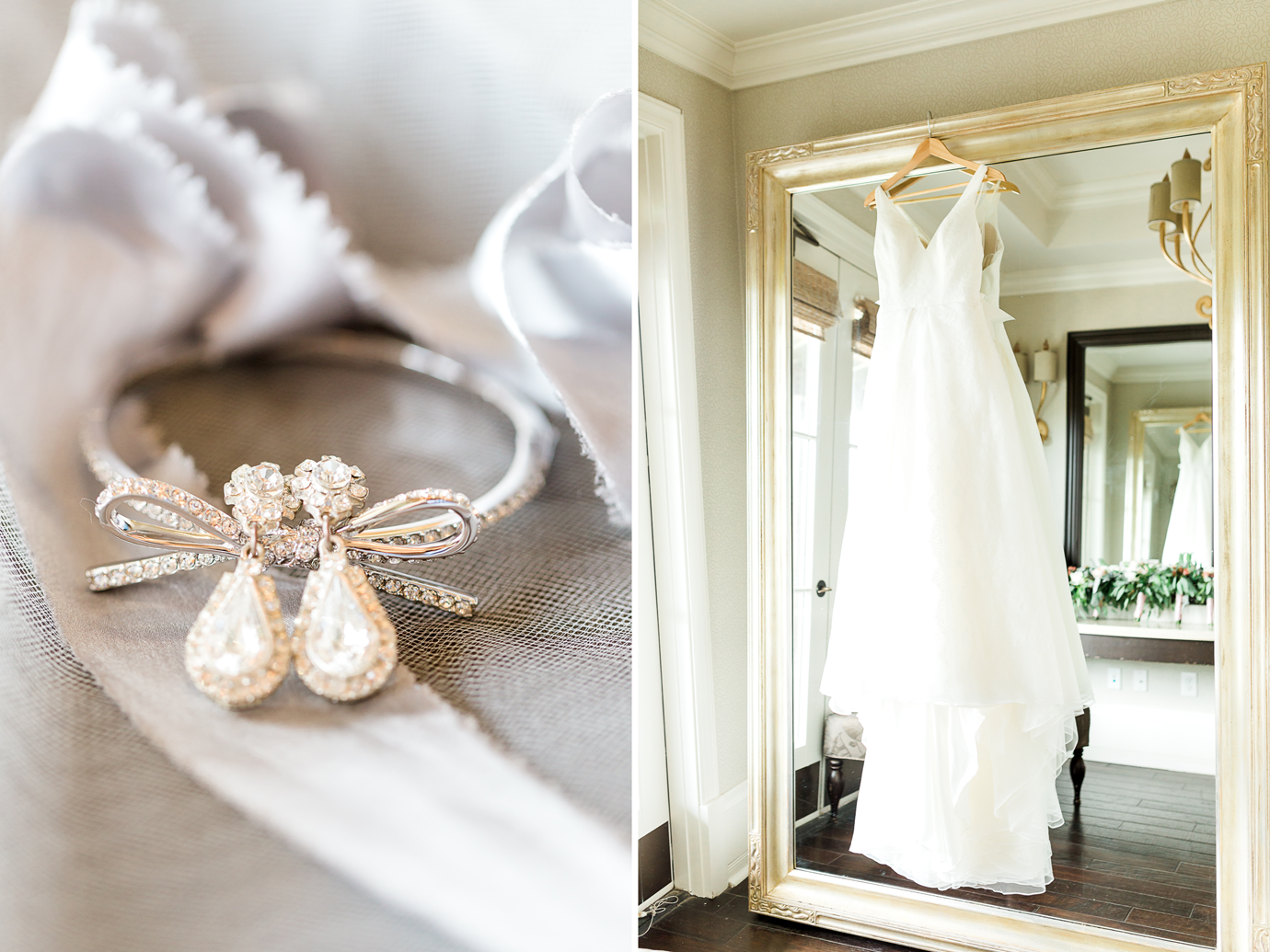 wedding details - jewelery and wedding dress