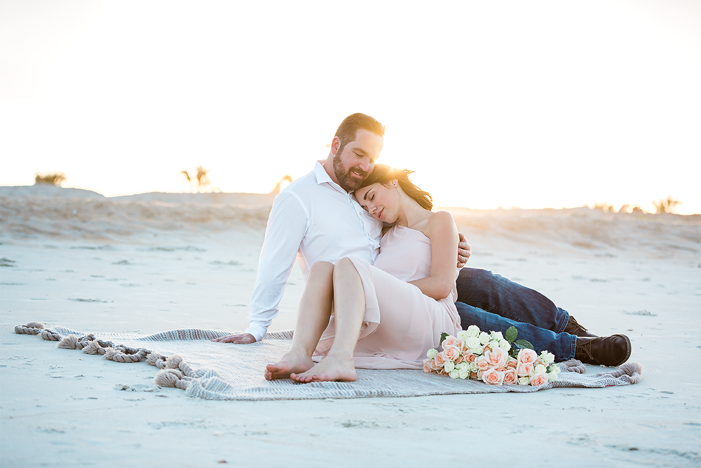 beach engagement photos in washington oaks