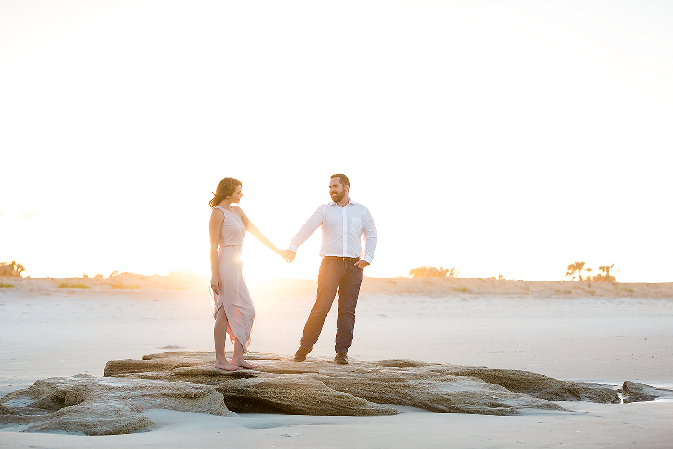 sunset beach engagement photoshoot