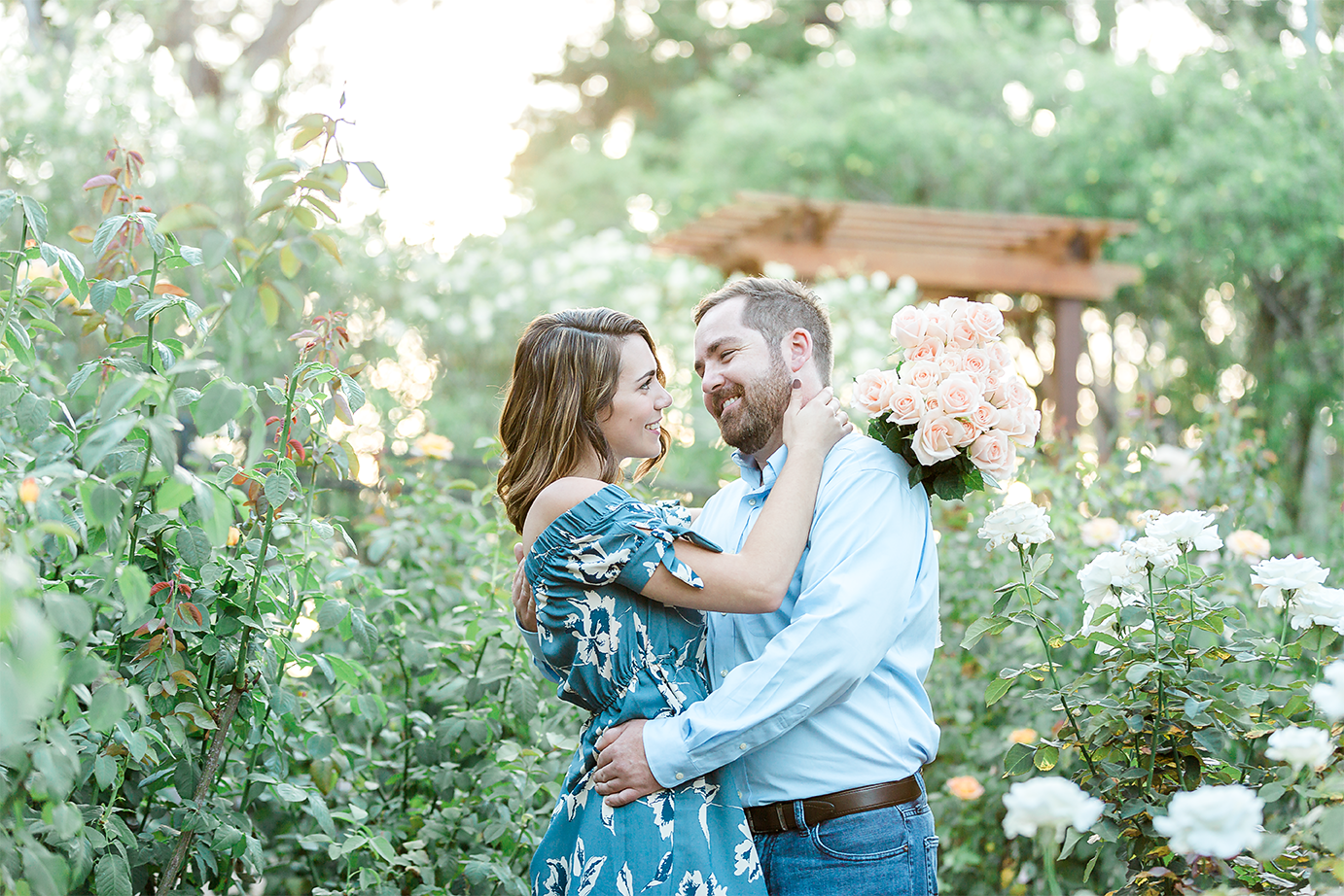 sunset engagement photos in washington oaks gardens