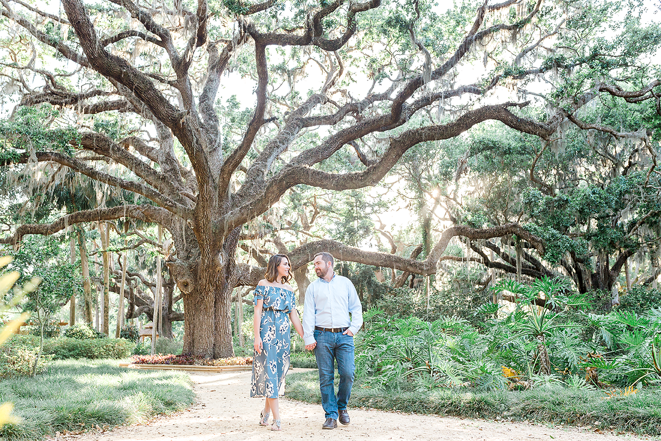 engagement session with moss trees