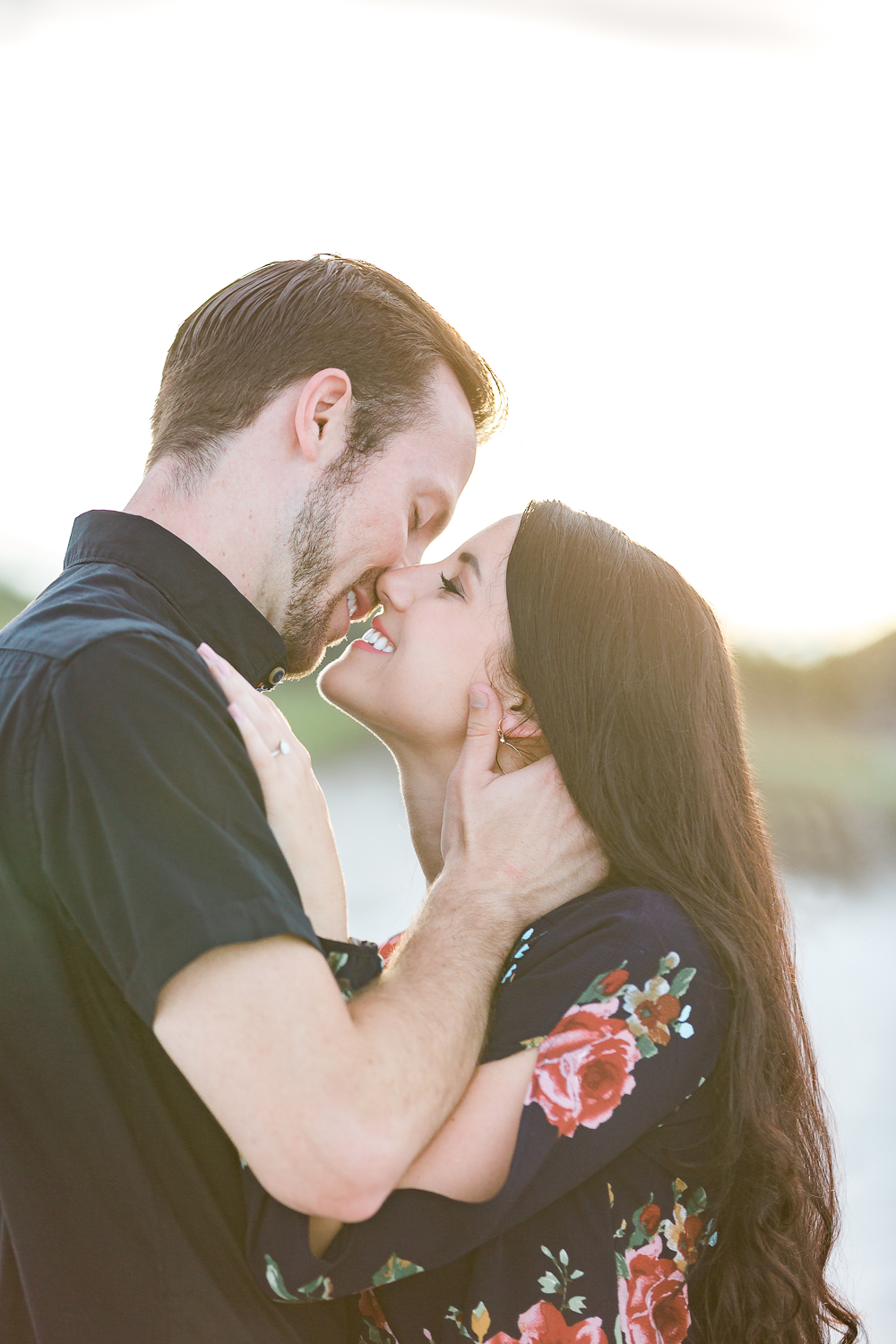 sunset engagement session at the beach