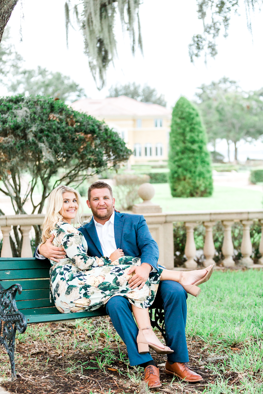 sitting on the bench during engagement session