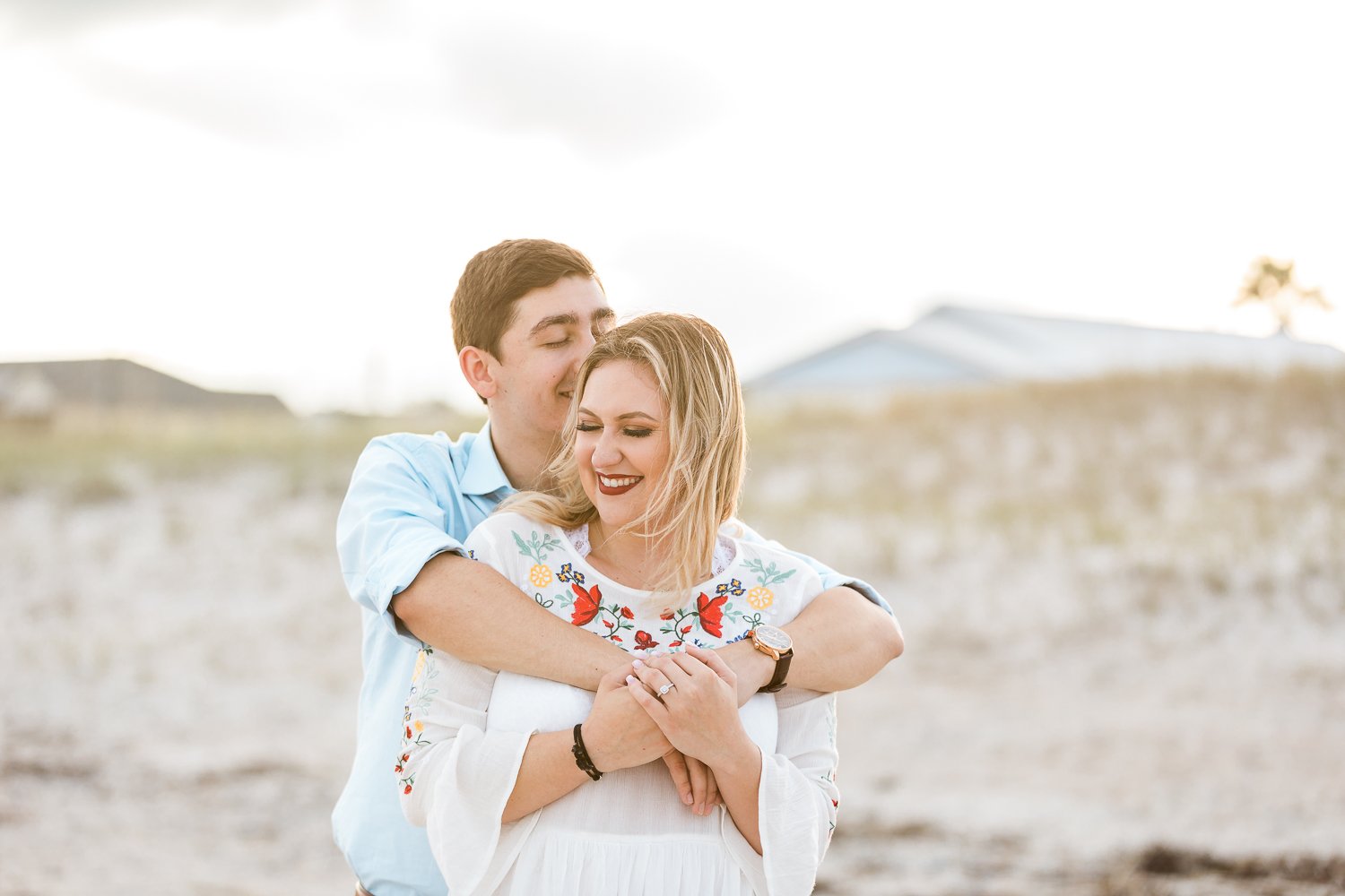 beach engagement session in amelia island