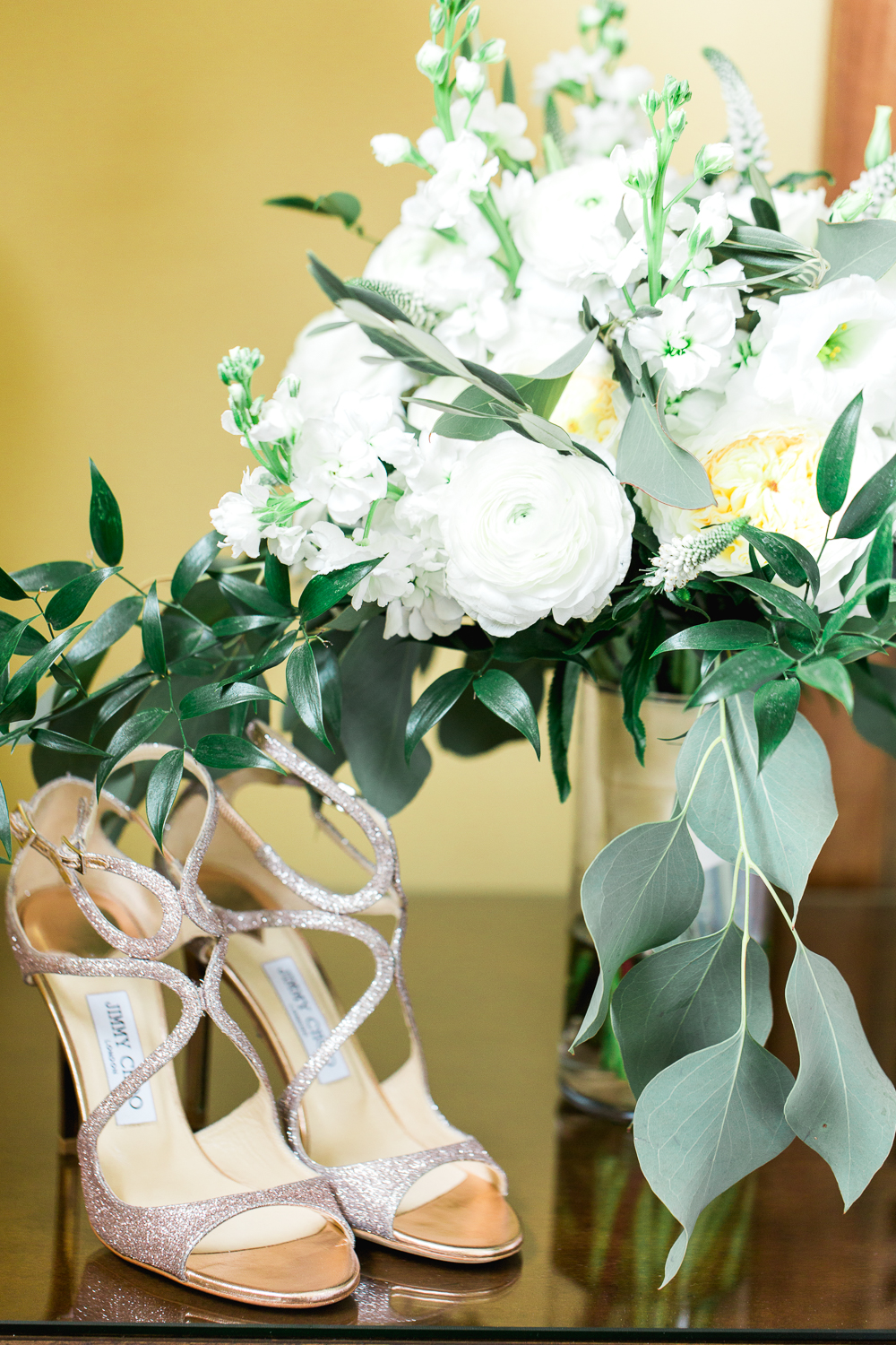 Jimmy Choo heels and bride's bouquet