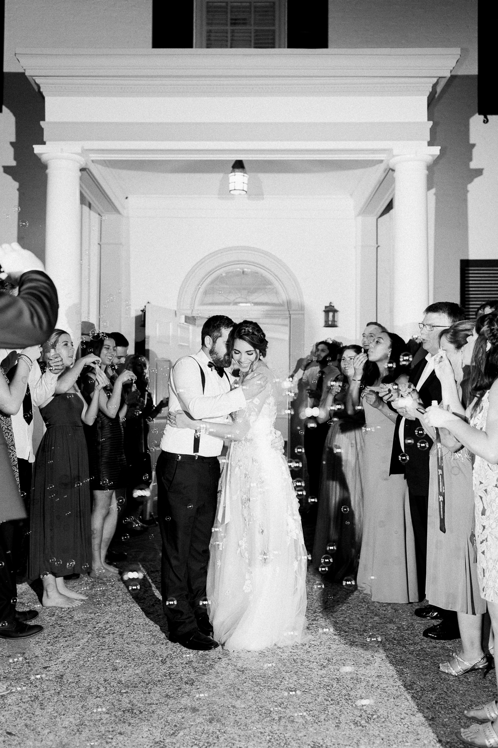 bride and groom bubble exit - picture ideas in the ribault club